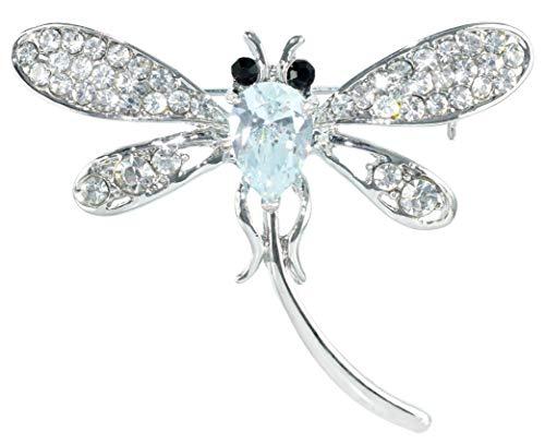 - Gyn&Joy Silver Tone Clear Crystal Rhinestone Cubic Zirconia Stone Dragonfly Flying Insect CZ Brooch Pin BZ196
