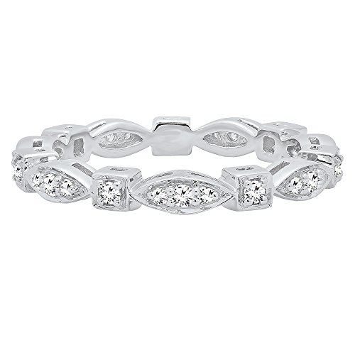 DazzlingRock Collection 0.30 Carat (ctw) 10K Gold Round White Diamond Ladies Vintage Wedding Stackable Band 1/3 CT