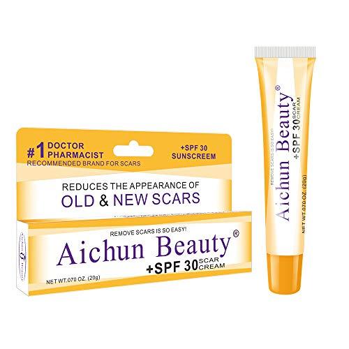 Ai chun Scar repair cream Burn Scar Removing Treatment - SPF 30 Scar Tissue Ointment - Scarring Gel - Ideal for Acne Scars, Surgery Signs, Burns & Cuts - 0.7 oz Lightweight Derma Gel (Best Ointment For Acne Scars)