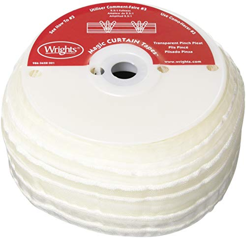 Wrights 8001 Machine Washable Pinch Pleat Tape, 30-Yard