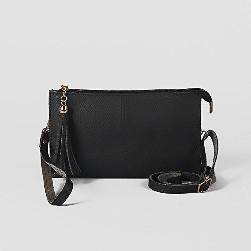 Vegan Elegant Black Ladies Tassel Faux strap Leather Clutch with Bag Adjustable Classic Purse HnAfT