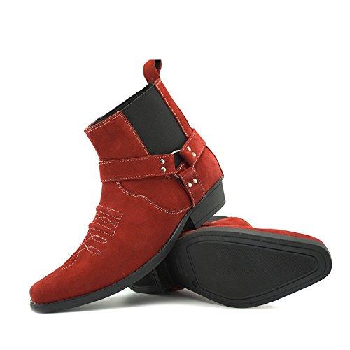 Caviglia di Footwear Kick Cowboy Mens in Pelle Pelle alla Stivali Cubano Western Tacco Red Suede Tirare Scamosciata wXqSvdq