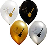 Guitar Balloons | Colorful Latex Balloons (20-Count) Happy Birthday Party Or Event Use | Fill with Air Or Helium | Kid-Friendly