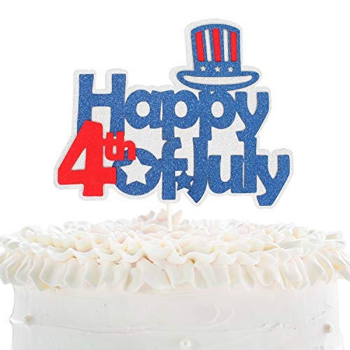 LINGPAR Highly Recommended Happy 4th of July Cake Topper -Independence Day American USA Patriotic Sign Decoration Supplies Red Blue White