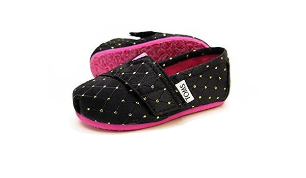 Amazon.com   Toms Classics Toddler Girls Black Gold Dots Flats Shoes Size 5   Flats