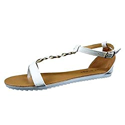 ShoeVibe Ontario Women Sandals (7, White)