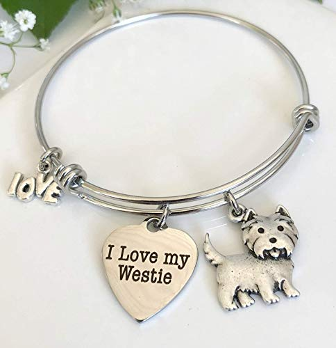 Westie Dog Bracelet Expandable West Highland Terrier Breed Charm Bangle - Small-Med