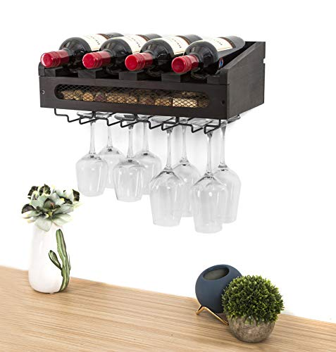 SODUKU Wall Mounted Wooden Wine Rack 4 Wine Bottles and 4 Long Stem Glasses Holder Wine Cork Storage Rack Espresso
