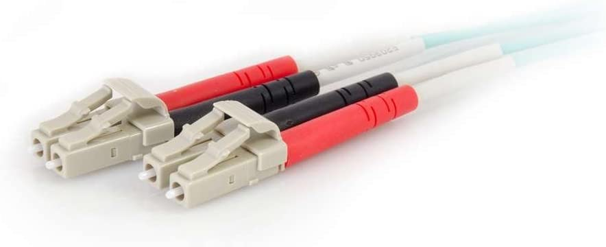 C2G 01001 OM4 Fiber Optic Cable 16.4 Feet, 5 Meters LC-LC 50//125 Duplex Multimode PVC Fiber Cable Aqua