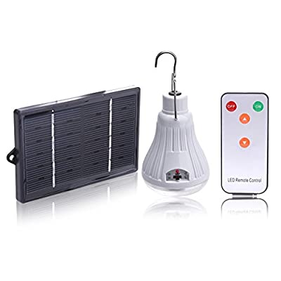 Alloet Solar LED Tent Light,Bright LED Dimmable Bulb with Remote Controller - Solar Barn / Camping Light