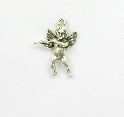 Sterling Silver 3D Angel with a Flute Charm - Jewelry Accessories Key Chain Bracelet Necklace Pendants