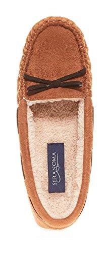 Seranoma Women's Slip-On Faux Fur Lined Flats Moccasin Slipper(S, Walnut) by Seranoma (Image #2)