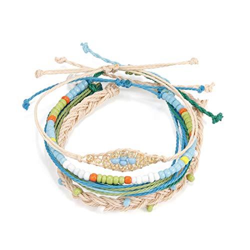 Pengruizhi Sky Blue Handmade Waterproof Braided Jewelry Bracelet Wax Coated Wave Charm Beach Bracelets 4Pieces/Set,Adjustable Band -