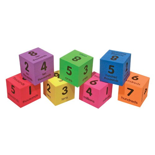 EAI Education QuietShape Foam Place Value Cubes: Ones to Millions - Set of 42 (Value Cubes Place)