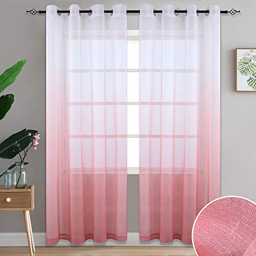 DONREN Living Coral Linen Look Sheer Curtains Gradient Ombre Voile Window Curtain Set Light Filtering Privacy Protecting Panels with Grommet Top, 52 Wide x84 inch Long,Sold in Pair