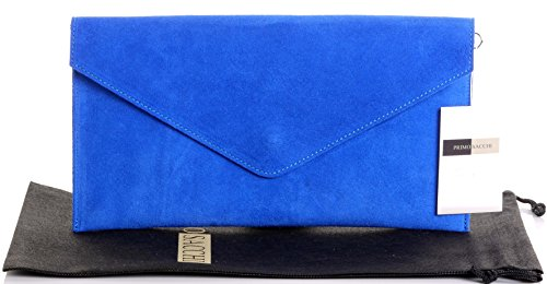 Include Envelopes - Italian Suede Leather Hand Made Royal Blue Envelope Design Clutch, Wrist, Shoulder or Crossbody Bag. Includes a Branded Protective Storage Bag