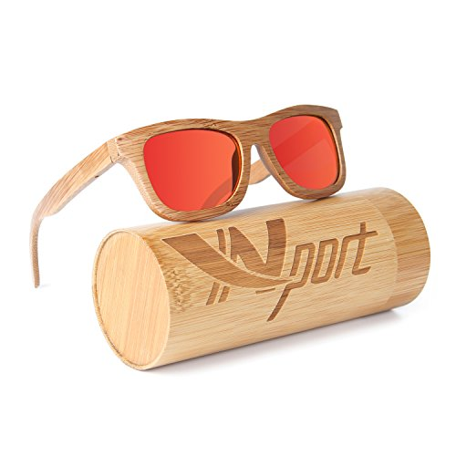Classics Wood Designer (Ynport Mens/Womens Polarized Full Charcoal Bamboo Frame Classic Wooden Coated Sunglasses, vintage Eyewear, Floating in Water)
