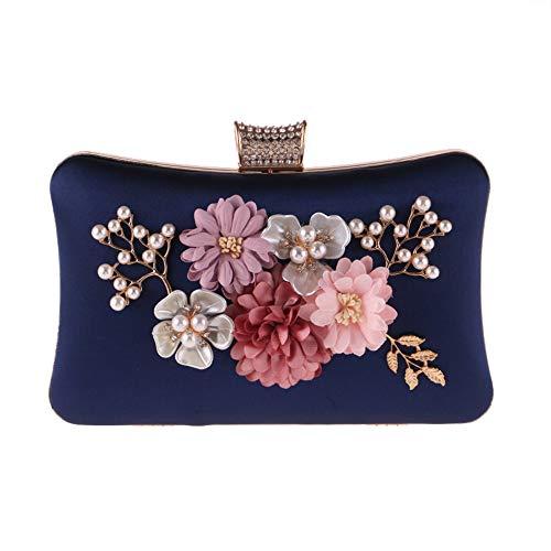 Boda Azul Negro Perlas Embrague Con La De Flor Bolso Noche Mujer Para Señoras Poliéster color Decoración Imitación Las Moda Ywx Invierno wBYR7Hnqn