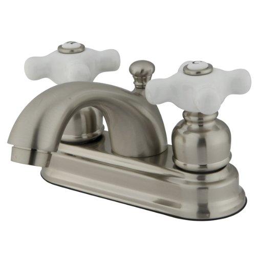Kingston Brass KB3608PX Vintage 4-Inch Centerset Lavatory Faucet, Porcelain Cross Handle, Satin (Vintage Porcelain Sink)