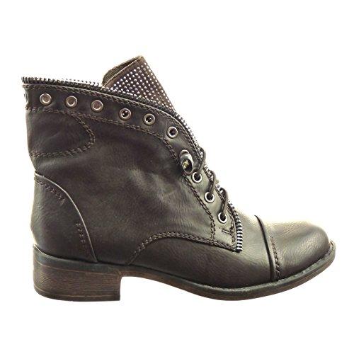 Sopily Fashion Shoes Bottines - Bottines Strass Femme Zip Block 3 Cm - Marron