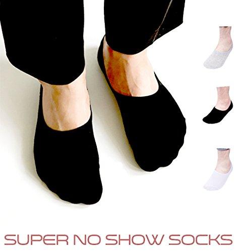 No Show/Low Cut Socks for Men 6 Pack,Mens No-Slip Grip Socks Ship Loafer Casual Cotton Socks(White,Black,Grey) by...