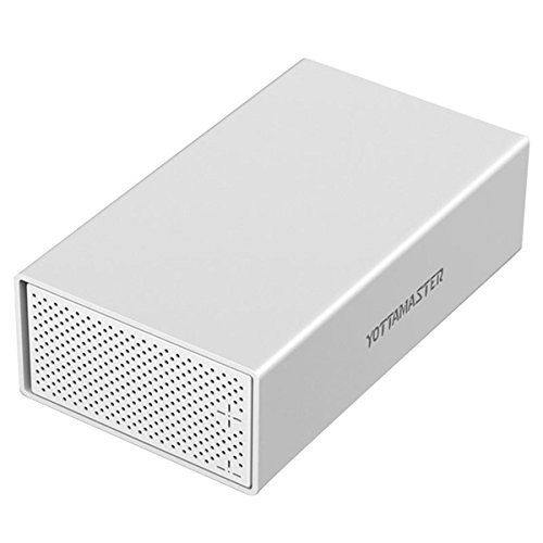 "Yottamaster Aluminum Alloy 3.5"" USB3.0 2 Bay External Hard Drive Enclosure for 3.5 Inch SATA HDD Support 2 x 10TB & UASP -Silver …"
