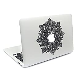 Easy Gift Arabic Mandala Leaves Removable Vinyl Macbookdecal Sticker Decals Skin With Precision-cut For Apple Macbook Airmacbook Pro Mac Laptop 13 15 Inch