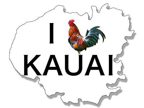 GHaynes Distributing White KAUAI SHAPED I Rooster Kauai Sticker Decal (love heart hawaii island beach) Size: 3 x 4 inch