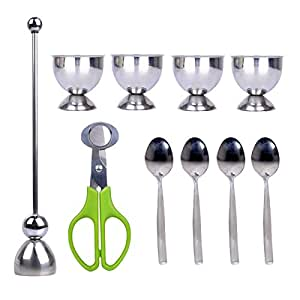 PROKITCHEN Egg Cup Holder Set with Egg Spoons and Quail Eggshell Cracker Cutter Topper for Removing Top of Soft Boiled Eggs