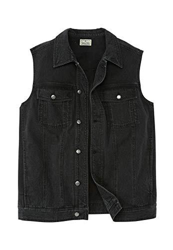 - Liberty Blues Men's Big & Tall Button Front Cotton Denim Vest, New Black Tall-5XL