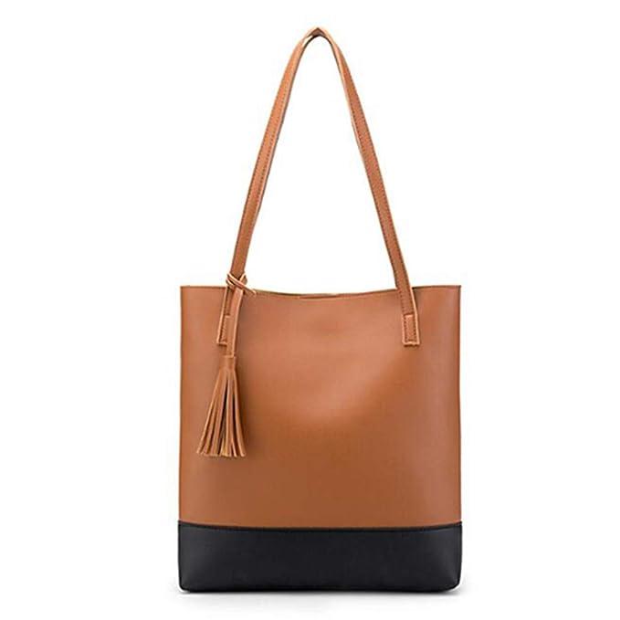 dd10187699 Amazon.com: Fashion Women Handbag Tassel Large Capacity PU Leather Totes Bag  Brief Bucket Shoulder Bag Ladies Bags: Clothing