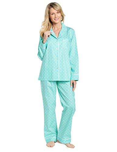 Noble Mount Womens 100% Cotton Poplin Pajama Sleepwear Set - Dots Diva Aqua White - Small Aqua Long Sleeve Pajamas