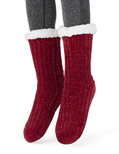 ff682a66f2e6 MaaMgic Womens Fuzzy Slipper Socks Girls Cozy Funny Grip Socks, Red