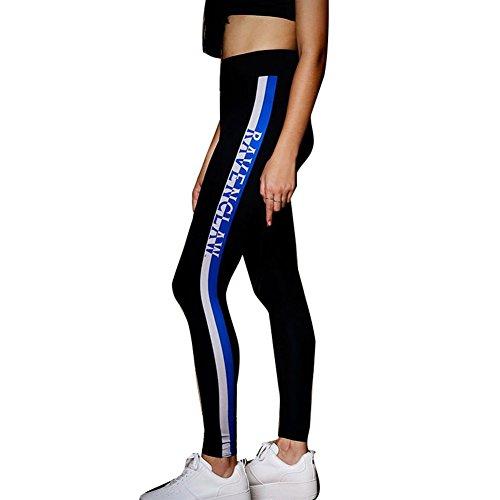 Yying Pantalones Deportivos para Mujer Rayado Impreso Slim Skinny Pantalón Moda Cintura Alta Casual Aptitud Leggings Elástico Pantalones Azul