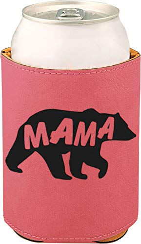 - Etchey Mama Bear Faux Leather Can Cooler Sleeve, Engraved Can Cooler for Dad, Can Cooler Sleeve for Dad, Pink, 5