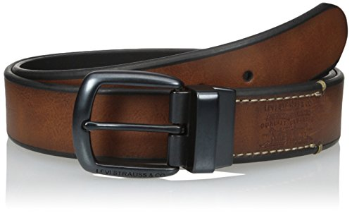 Levi's Men's Skelly Town Embossed Logo Reversible Belt