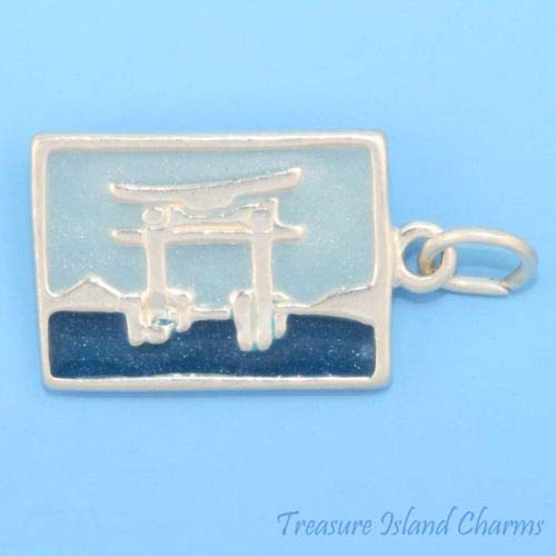 Japan Enamel Torii GATE Postcard 925 Solid Sterling Silver Charm Crafting Key Chain Bracelet Necklace Jewelry Accessories Pendants]()
