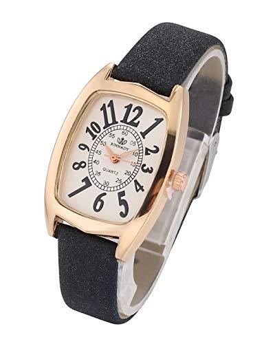 Top Plaza Women Watches Black Leather Band Rose Gold Rectangle Case Analog Quartz Wrist Watches Girls Ladies Dress…