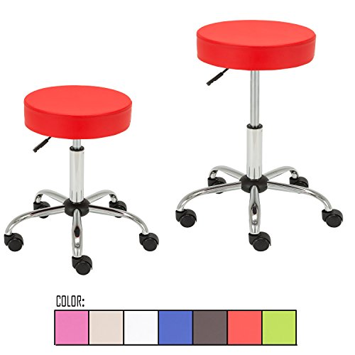 Price comparison product image FLOURISH OFFICE Contemporary Adjustable Synthetic Leather Swivel Kitchen Drafting Club Bar Stool Caressoft Medical Stool Sets of 2 (Red)