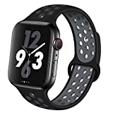 OriBear Compatible for Apple Watch Band 40mm 38mm, Breathable Sporty for iWatch Bands Series 5/4/3/2/1, Watch Nike+, Various Styles and Colors for Women and Men(M/L,Black-Grey)