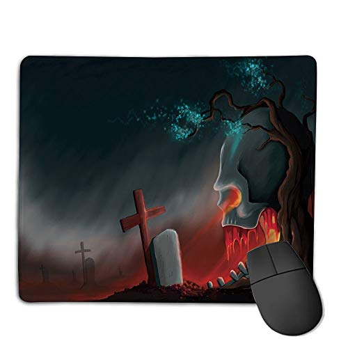 Mouse Pad Custom,Non-Slip Rubber Mousepad,Halloween,Graveyard Cemetery Tree with Evil Skull Tomb Stone Cruciform Creepy Fantastic Decorative,Multicolor,for Laptop, Computer, PC, Keyboard,H9.8XW11.8i