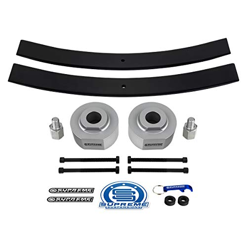 Supreme Suspensions - 2 Inch Front Lift + Rear Add-A-Leaf Pack for 1983-1996 Ford Ranger [2WD] Silver Billet Aluminum Spacers and Carbon Steel Short Leafs [Includes 3/4