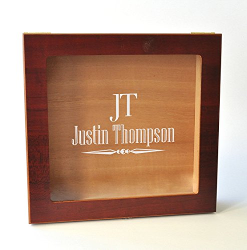 Personalized Glass Top Humidor with Monogram Engraving Custom Engraving