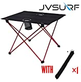 JVSURF Lightweight Small Folding Camping Table with Cup Holders