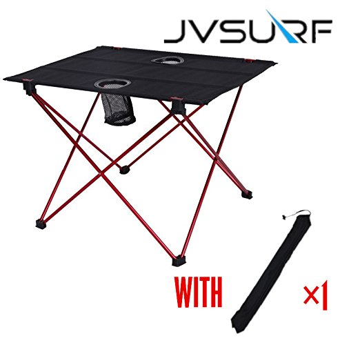 JVSURF Lightweight Small Folding Camping Table with Cup Holders by JVSURF