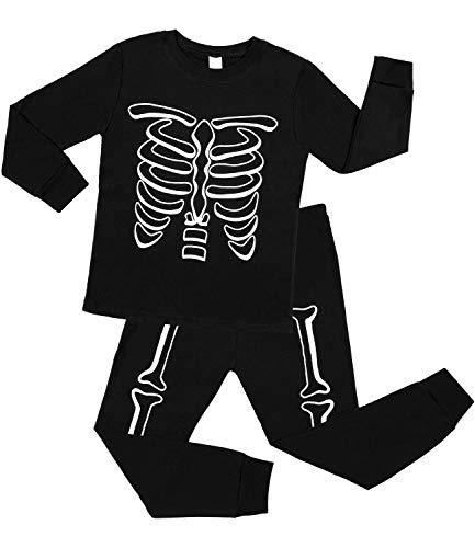 Sociala Halloween Pajamas for Kids Skeleton Black Pjs