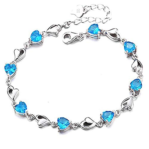 FAVOT Fashion Crystal Zircon Bracelet for Women Heart Shape Silver Length Adjustable Hand Chain (Blue)