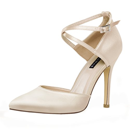 ERIJUNOR E2264 Women High Heel Ankle Strap Satin Dress Pumps Evening Prom Wedding Shoes Champagne 7