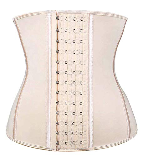 SHAPERX Women's Latex Waist Trainer Corset for Weight Loss - Postpartum abdome Sports Girdle Shapewear, (Beige, Large)