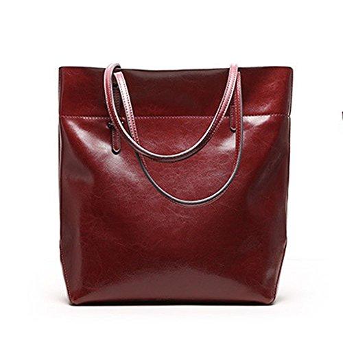 A Vera Capacità In Bag Tracolla Big Donna viola Mufly Epoca Scuro Borsa Pelle Elevata Casual Bordeaux Stile dYqSzwpS
